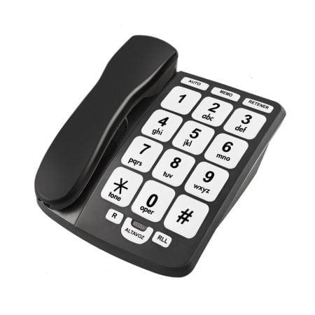 TELÉFONO SOBREMESA NEGRO TECLAS GRANDES KUKEN